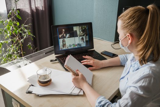 Frau Laptop Beraten Video call